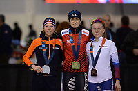 SPEEDSKATING: SALT LAKE CITY: Utah Olympic Oval, 09-03-2019, ISU World Cup Finals, Podium 3000m Ladies, Esmee Visser (NED), Martina Sablikova (CZE), Natalia Voronina (RUS), ©Martin de Jong