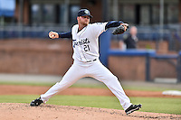 Asheville Tourists starting pitcher Trey Killian (21) delivers a pitch during a game against the Hagerstown Suns at McCormick Field on April 27, 2016 in Asheville, North Carolina. The Tourists defeated the Suns 14-7. (Tony Farlow/Four Seam Images)