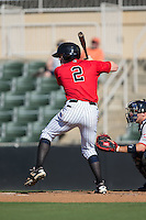 Landon Lassiter (2) of the Kannapolis Intimidators at bat against the Greenville Drive at Intimidators Stadium on June 7, 2016 in Kannapolis, North Carolina.  The Drive defeated the Intimidators 4-1 in game one of a double header.  (Brian Westerholt/Four Seam Images)