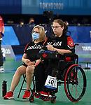 Alison Levine, Tokyo 2020 - Boccia. <br /> Alison Levine competes in Mixed Individual - BC4 Preliminaries Pool A // Alison Levine participe à mixte individuelle - BC4 Préliminaires groupe A. 08/30/2021.