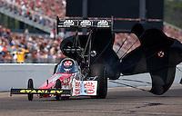 Aug. 18, 2013; Brainerd, MN, USA: NHRA top fuel dragster driver Doug Kalitta during the Lucas Oil Nationals at Brainerd International Raceway. Mandatory Credit: Mark J. Rebilas-