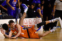 Brayden Inger of the Southland Sharks and Dion Prewster of the Wellington Saints during the round two NBL match between the Wellington Saints and the Southland Sharks at TSB Bank Arena, Wellington, New Zealand on Friday 7 May 2021.<br /> Photo by Masanori Udagawa. <br /> www.photowellington.photoshelter.com