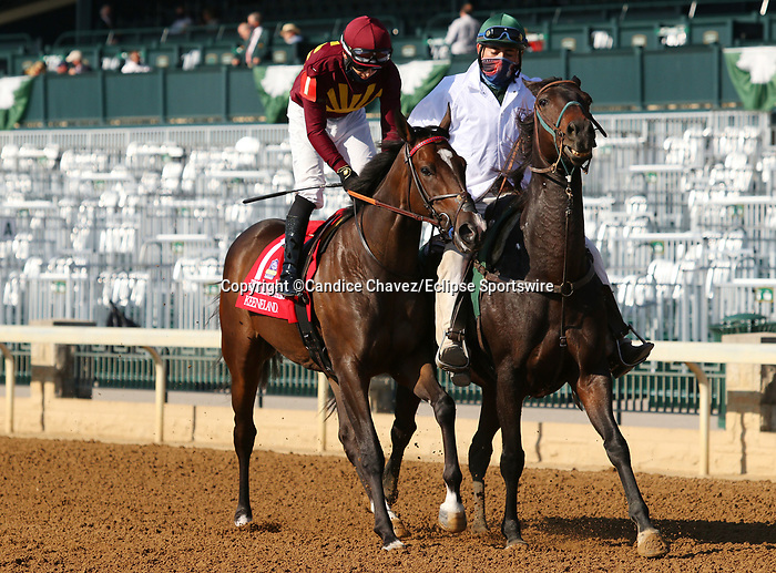 """Octover 07, 2020 : #1 Batyah and jockey David Cohen finish 5th in the 30th running of the JPMorgan Chase Jessamine Grade 2 $150,000 """"Win and You're In Juvenile Fillies Turf Division"""" at Keeneland Racecourse in Lexington, KY on October 07, 2020.  Candice Chavez/ESW/CSM"""
