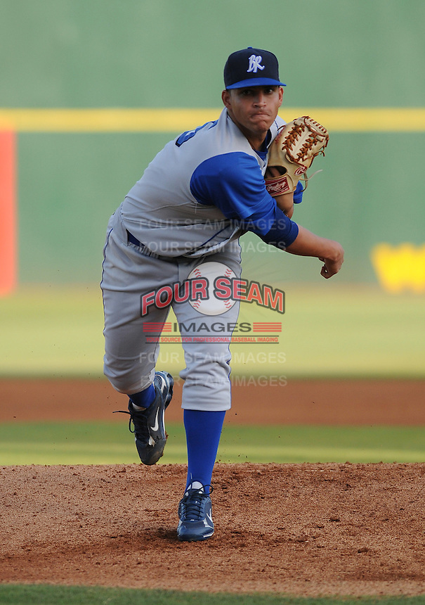 July 7, 2008: RHP Mario Santiago (25) of the Wilmington Blue Rocks, Class A affiliate of the Kansas City Royals, in a game against the Myrtle Beach Pelicans at BB&T Coastal Field in Myrtle Beach, S.C. Photo by:  Tom Priddy/Four Seam Image