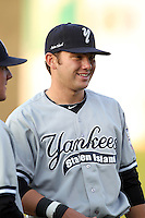 Staten Island Yankees third baseman Dante Bichette Jr #50 before game one of the NY-Penn League Championship Series against the Auburn Doubledays at Falcon Park on September 12, 2011 in Auburn, New York.  Staten Island defeated Auburn 9-2.  (Mike Janes/Four Seam Images)