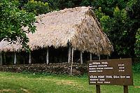 A historic Hawaiian akule hale (meeting house) is preserved at the Kipahulu ranger station in HALEAKALA NATIONAL PARK near the Ohe'o Gulch  on Maui in Hawaii