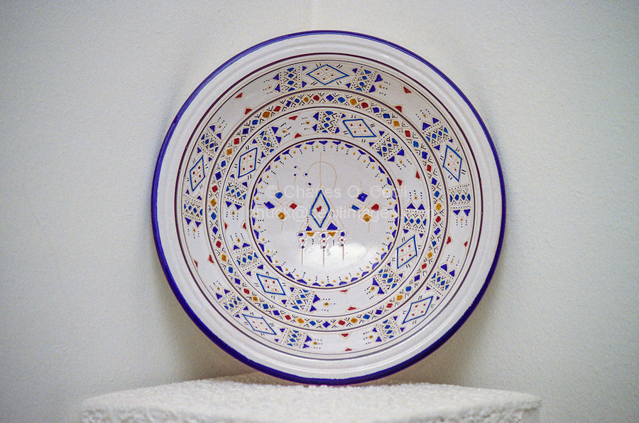 Ceramics, Nabeul, Tunisia.  Ceramic Bowl with Traditional Berber Design.