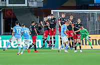 WASHINGTON, DC - APRIL 17: The free kick of Jesus Medina #19 of New York City FC hits Brendan Hines-Ike #4 of D.C. United during a game between New York City FC and D.C. United at Audi Field on April 17, 2021 in Washington, DC.