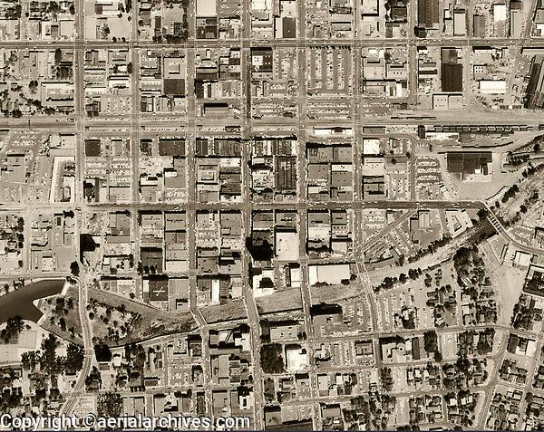 historical aerial photograph downtown Reno, Nevada, 1966.
