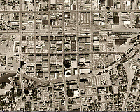 historical aerial photograph downtown Reno, Nevada, 1966.