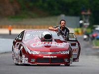 Jun 20, 2015; Bristol, TN, USA; NHRA pro stock driver Greg Anderson during qualifying for the Thunder Valley Nationals at Bristol Dragway. Mandatory Credit: Mark J. Rebilas-