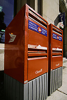 File Photo, Montreal, Quebec, Canada<br /> <br /> Canada Post latest model of Mail box<br /> <br /> <br /> Mandatory Credit: Photo by Pierre Roussel- Images Distribution. (©) Copyright<br />  by Pierre Roussel <br /> <br /> NOTE : <br /> scanned 35 mm neg, saved as  in Adobe 1998 RGB coor space. Contact us if you need a higher res. file