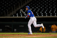 AZL Cubs 1 Oswaldo Pina (60) hits a home run during an Arizona League game against the AZL Athletics Gold at Sloan Park on June 20, 2019 in Mesa, Arizona. AZL Athletics Gold defeated AZL Cubs 1 21-3. (Zachary Lucy/Four Seam Images)