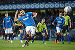Lee McCulloch hammers his penalty kick high into the roof of the net to open the scoring for Rangers against Stranraer on Boxing Day.