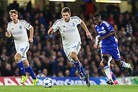 Artem Kravets of Dynamo Kyiv (2nd left) during the UEFA Champions League Group match between Chelsea and Dynamo Kyiv at Stamford Bridge, London, England on 4 November 2015. Photo by David Horn.
