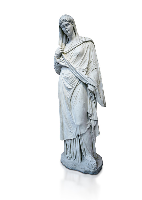 Roman funerary statue of a women in the Large Herculaneum style, Found in the cemetery of Stagiou Street, Athens, Athens Archaeological Museum, cat no 32622. Against white, <br /> <br /> This statue is the typle known as the Large Herculaneum Wome. She wears a full length chiton and himation that covers her head and entire body. Dating from the 1st cent AD it is a copy of an earlier statue circa 320 BC, probably by Praxiteles