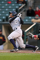 Scranton Wilkes-Barre Yankees outfielder Justin Maxwell #44 at bat during a game against the Rochester Red Wings at Frontier Field on April 12, 2011 in Rochester, New York.  Scranton defeated Rochester 5-3.  Photo By Mike Janes/Four Seam Images