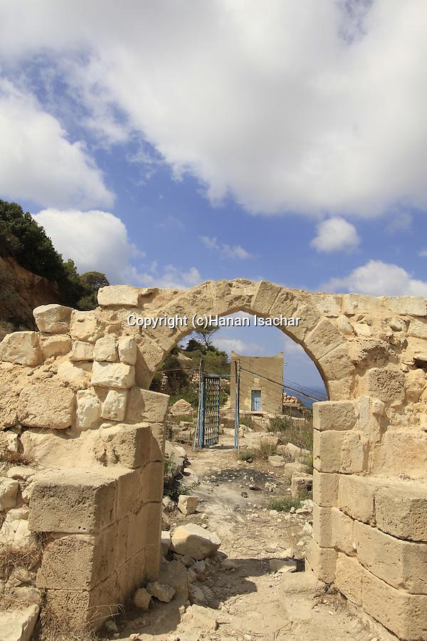 Israel, Mount Carmel, ruins of the Carmelite Monastery in Wadi Siach