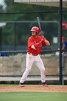 GCL Phillies East first baseman Jack Zoellner (27) at bat during a game against the GCL Blue Jays on August 10, 2018 at Carpenter Complex in Clearwater, Florida.  GCL Blue Jays defeated GCL Phillies East 8-3.  (Mike Janes/Four Seam Images)