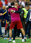 FC Barcelona's coach Luis Enrique Martinez and Luis Suarez celebrates the victory in the Spanish Kings Cup Final match. May 22,2016. (ALTERPHOTOS/Acero)