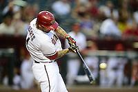 Apr. 17, 2012; Phoenix, AZ, USA; Arizona Diamondbacks infielder Ryan Roberts at bat against the Pittsburgh Pirates at Chase Field.Mandatory Credit: Mark J. Rebilas-