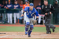 Seton Hall Pirates catcher Tyler Boyd (30) tracks a foul pop fly down the third base line during the game against the Virginia Cavaliers at The Ripken Experience on February 28, 2015 in Myrtle Beach, South Carolina.  The Cavaliers defeated the Pirates 4-1.  (Brian Westerholt/Four Seam Images)