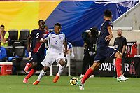 Harrison, NJ - Friday July 07, 2017: Ever Alvarado, Joel Campbell during a 2017 CONCACAF Gold Cup Group A match between the men's national teams of Honduras (HON) vs Costa Rica (CRC) at Red Bull Arena.