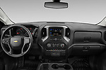 Stock photo of straight dashboard view of 2021 Chevrolet Silverado-1500 WT 2 Door Pick-up Dashboard