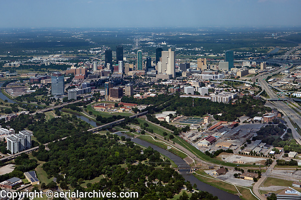 aerial photograph of Fort Worth, Texas; the Clear Fork of the Trinity River in the foreground