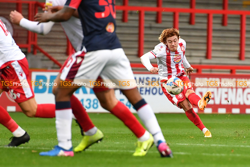 Arthur Read of Stevenage FC free kick goes over during Stevenage vs Bolton Wanderers, Sky Bet EFL League 2 Football at the Lamex Stadium on 21st November 2020