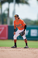 Baltimore Orioles second baseman Andrew Fregia (79) during a Florida Instructional League game against the Pittsburgh Pirates on September 22, 2018 at Ed Smith Stadium in Sarasota, Florida.  (Mike Janes/Four Seam Images)