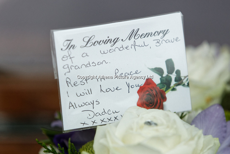 """Pictured: Tributes for Bradley in the hearse outside at Aberavon Beach Hotel in Port Talbot, Wales, UK. Monday 08 October 218<br /> Re: A grieving father will mourners on horseback at the funeral of his """"wonderful"""" son who killed himself after being bullied at school.<br /> Talented young horse rider Bradley John, 14, was found hanged in the school toilets by his younger sister Danielle.<br /> Their father, farmer Byron John, 53, asked the local riding community to wear their smart hunting gear at Bradley's funeral.<br /> Police are investigating Bradley's death at the 500-pupils St John Lloyd Roman Catholic school in Llanelli, South Wales.<br /> Bradley's family claim he had been bullied for two years after being diagnosed with Attention Deficit Hyperactivity Disorder.<br /> He went missing during lessons and was found in the toilet cubicle by his sister Danielle, 12."""