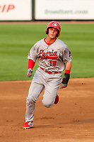 Peoria Chiefs third baseman Nolan Gorman (19) races to third base during a Midwest League game against the Wisconsin Timber Rattlers on May 31, 2019 at Fox Cities Stadium in Appleton, Wisconsin. Peoria defeated Wisconsin 3-0. (Brad Krause/Four Seam Images)