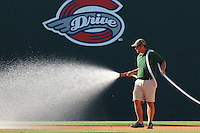 May 30, 2009: Greg Burgess, head groundskeeper for the Greenville Drive, prepares the field for a game against the Savannah Sand Gnats at Fluor Field at the West End in Greenville, S.C. Photo by: Tom Priddy/Four Seam Images