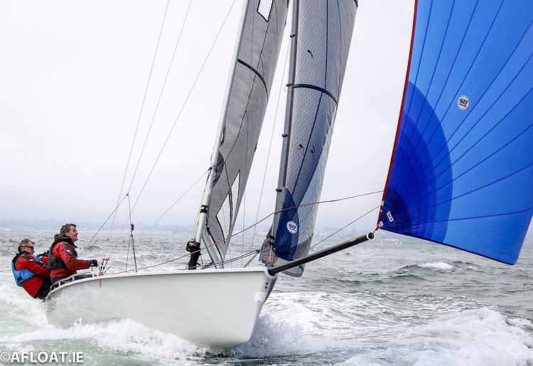 Royal St. George's Sea Biscuit (Marty Cuppage, Niall O'Riordan and Barry Glavin) are lying ninth overall at the 2021 SB20 East Coast Championships on Dublin Bay