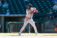 Peoria Javelinas right fielder Izzy Wilson (7), of the Atlanta Braves organization, at bat during an Arizona Fall League game against the Surprise Saguaros at Surprise Stadium on October 17, 2018 in Surprise, Arizona. (Zachary Lucy/Four Seam Images)