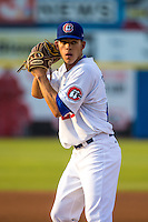 Jose Berrios (25) of the Chattanooga Lookouts pitches during a game between the Jackson Generals and Chattanooga Lookouts at AT&T Field on May 8, 2015 in Chattanooga, Tennessee. (Brace Hemmelgarn/Four Seam Images)