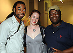 """From left: Anthony Suber, Jessica Jacobi and Theodore Taylor at the """"Strung Out"""" backyard barbecue at the Winter Street Studios Saturday July 24,2010.(Dave Rossman/For the Chronicle)"""