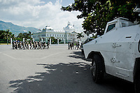 The UN soldiers in front of the Presidential Palace in Port-au-Prince, Haiti. The United Nations Stabilization Mission In Haiti (MINUSTAH) is a peacekeeping mission that has been installed in Haiti in 2004 by the United Nations. In spite of the undoubted efforts that have been made by the UN, MINUSTAH soldiers became a symbol of the occupation and therefore they are generally not welcomed by the Haitian population.