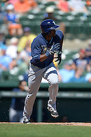 Tampa Bay Rays infielder Eugenio Velez (63) during a Spring Training game against the Baltimore Orioles on March 14, 2015 at Ed Smith Stadium in Sarasota, Florida.  Tampa Bay defeated Baltimore 3-2.  (Mike Janes/Four Seam Images)