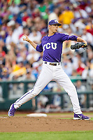 TCU Horned Frogs pitcher Trey Teakell (40) ACTION against the LSU Tigers in Game 10 of the NCAA College World Series on June 18, 2015 at TD Ameritrade Park in Omaha, Nebraska. TCU defeated the Tigers 8-4, eliminating LSU from the tournament. (Andrew Woolley/Four Seam Images)