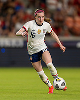 HOUSTON, TX - JUNE 10: Rose Lavelle #16 of the USWNT sprints downfield during a game between Portugal and USWNT at BBVA Stadium on June 10, 2021 in Houston, Texas.