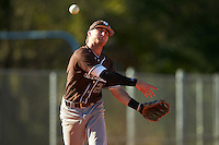 St. Bonaventure Bonnies third baseman David Hollins (24) throws to first base during a game against the Dartmouth Big Green on February 25, 2017 at North Charlotte Regional Park in Port Charlotte, Florida.  St. Bonaventure defeated Dartmouth 8-7.  (Mike Janes/Four Seam Images)