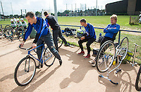 13 SEP 2014 - IPSWICH, GBR - Daniel Zagni (left) of Kesgrave Panthers prepares for the start of the 2014 British Open Club Cycle Speedway Championships at Whitton, Ipswich in Great Britain (PHOTO COPYRIGHT © 2014 NIGEL FARROW, ALL RIGHTS RESERVED)