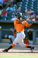 Second baseman Kelvin Beltre (13) of the Augusta GreenJackets bats in a game against the Columbia Fireflieon Sunday, July 30, 2017, at Spirit Communications Park in Columbia, South Carolina. Augusta won, 6-0. (Tom Priddy/Four Seam Images)