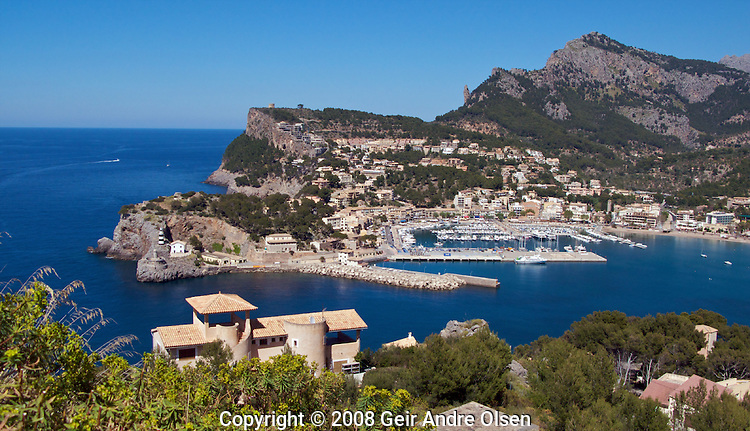 View of the small town Port Soller from the lighthouse just outside the town. Majorca, Spain