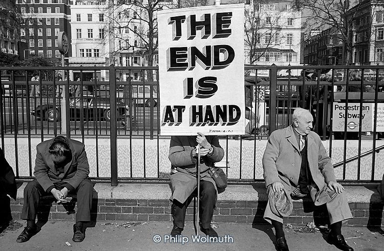 The End is At Hand. Evangelical Christian with a placard at Speakers Corner, Hyde Park, London; 1978