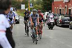 The breakaway group featuring Samuele Conti (ITA) Southeast, Alessandro Malaguti (ITA) Nippo-Vini Fantini, Luca Chirico (ITA) Bardiani CSF, Nicolas Lefrancois (FRA) Team Novo Nordisk and Daniel Teklehaimanot (ERI) MTN-Qhubeka at the feed zone in Pozzo Sant'Evasio during the 2015 96th Milan-Turin 186km race starting at San Giuliano Milanese, Italy. 1st October 2015.<br /> Picture: Eoin Clarke | Newsfile