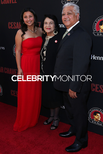 """HOLLYWOOD, LOS ANGELES, CA, USA - MARCH 20: Daniella Chavez, Dolores Huerta, Paul Chavez at the Los Angeles Premiere Of Pantelion Films And Participant Media's """"Cesar Chavez"""" held at TCL Chinese Theatre on March 20, 2014 in Hollywood, Los Angeles, California, United States. (Photo by David Acosta/Celebrity Monitor)"""
