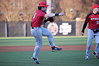 GREENSBORO, NC - FEBRUARY 25: Charlie Pagliarini #8 of Fairfield University throws to first base for an out during a game between Fairfield and UNC Greensboro at UNCG Baseball Stadium on February 25, 2020 in Greensboro, North Carolina.
